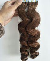 Grado 8A - 100% cabello humano Extensiones de cabello con cinta de PU para el cuerpo Extensiones 2.5g por pc40pcs por lote // Longitud 12 '' - 26 '' con color marrón claro 8 #