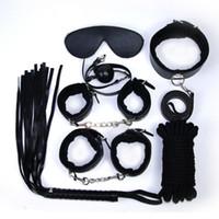 7-in-1 BDSM 본디지 기어 키트 제한 PU 볼그 로프 스팽킹 립 섹스 칼라 핸드 레그 커프스 아이 마스크 성인용 완구