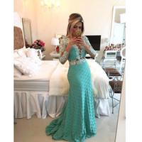 2015 Desinger Evening Dresses Lace Applique Ruffles Long Sleeve Sexy V Neck Mermaid Skirt Floor length Backless Prom Party Dresses EV0354
