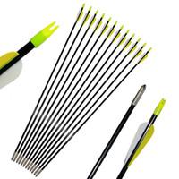 Eje de fibra de vidrio de 7 mm Puntos de campo de 31 pulgadas para caza de tiro con arco Práctica de tiro blanco Arco recurvo y arco compuesto