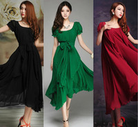 2018 New fashion Women' s Green Red Black Maxi chiffon V...