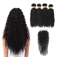 7A brasileña onda rizada pelo 4 paquetes con cierre medio 3 parte extensiones de cabello humano trama doble teñido armadura del cabello humano