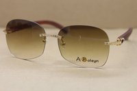 Hot transporte livre Desinger sem aro óculos de sol de madeira de alta qualidade Óculos de madeira Birch quadros de decoração em madeira quadro Óculos Frame Size: 61-18-135mm