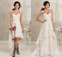 two pieces country bohemian wedding dresses 2017 new sexy spaghetti lace a line bridal gowns with short detachable skirt wedding gowns