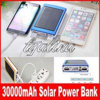30000mAh cargador solar de 2 puertos de batería externa para el teléfono móvil iPhone Paquete 6 / 6s / 7/8 7plus Samsung banco portable