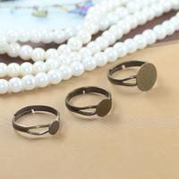 (40 unids / lote) 6mm / 8mm / 12mm almohadilla de bronce antiguo anillo anillo ajustable anillo de pegamento en blanco en los anillos cabochon hallazgos cy531