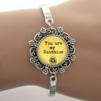 Braccialetto 'You Are My Sunshine' Vetro Cabochon Dome Charm Charm, nota Jewelry Yellow Photo Design Argento Bangle Alta qualità