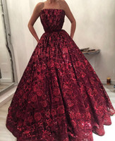 In Stock Wine Red Dark Long Prom Dresses Lace 2018 Stunning Sequins Flowers Strapless Evening Dress