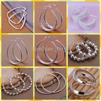 2015 nuovo mix 10 stile 10 paia / lotto gioielli di alta qualità 925 orecchini d'argento orecchini a cerchio moda regali iperbole grande anello dell'orecchio