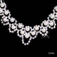 Ensembles de bijoux en strass mariée Boucles d'oreilles Collier Crystal Bridal Prom Party Pageant filles Accessoires de mariage Livraison gratuite 15036