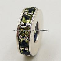 Eternity Spacer Charme S925 Sterling Silver Bead com Verde Cz Serve para Pandora Europeu Jóias Pulseiras Colares Pingente