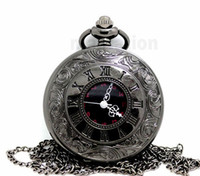 Wholesale 100pcs lot black classic Roman Pocket watch vintag...