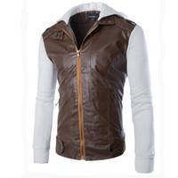 Yeni erkek pu deri ceket gelmesi ve paltolar erkekler sıcak havada ceket artı boyutu M-XXL dış giyim uzun kollu hoodies splice