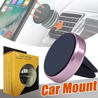 Car Mount Air Vent Magnetic Universal Holder Handfree Dashboard Phone Metal Stand para iPhone Xs Plus Xc X 8 7 Samsung S9 con paquete al por menor