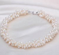 4-5mm Water Drop Shape White Multi Layer Natural Freshwater Pearl Necklace 17inch