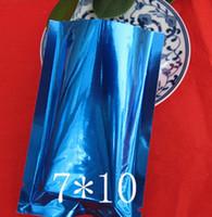 7 * 10 Blå Gratis frakt 100st Aluminiumfoliepåse Värmeförseglingspaket för kaffe te, pulver, kryddor Plain Pocket Plast Presentpåse