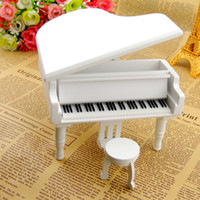 White Wooden Piano Music Boxes with City of the Sky For Gift...