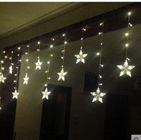 3 * 0.6M120 Lichter 12-spitzen Sternschnitt Fenster Dekoration Vorhang Vorhang Ehe Raumaufteilung blinkende LED leuchtet Zeichenfolge