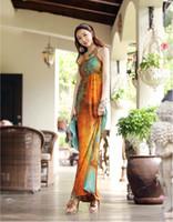 2016 여성 의류 여름 맥시 보헤미안 드레스 패션 섹시한 홀터넥 민소매 오렌지 잉크 여성용 긴 허리 비치 캐주얼 드레스