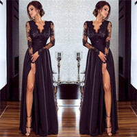 Sexy Black Prom Dresses Side Split Lace Deep V Neck Long Ill...