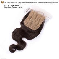 Mongolski Jedwabny Base Zamknięcia Body Wave Virgin Human Hair Top Koronki Zamknięcia Wolny / Środek / 3 Część Natural Color Dwudni Ukryte węzły 4x4inch 7a