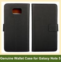 Venta al por mayor Nuevo Llega el caso de la cubierta del tirón de la carpeta del cuero genuino para Samsung Galaxy Note 5 con el soporte de la ranura para tarjeta Envío libre