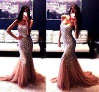 Sparkly sirène bling bling Paillettes Prom Dressess bretelles balayage train Tulle Robes de soirée sans manches Robes formelles longue