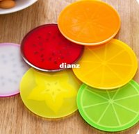 Mode de fruits chauds de forme de fruits de verre sous-verres ronds en silicone