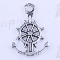 600 unids / lote Nueva moda de plata / cobre retro Sit Anchors joyería DIY colgante Collar apto 2730y
