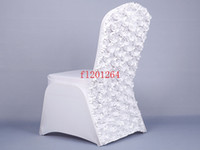 100pcs lot Free Shipping New Arrival Universal Rose Satin Spandex Chair Cover Covers With Satin Flower In Back For Wedding Party Banquet