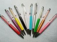Stylet stylo ballon de 5,7 pouces de diamant de luxe cristal 2 en 1 Strass à écran tactile Écriture capacitive pour la tablette de téléphone portable PC 600pcs / lot