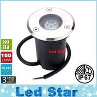 Lámpara LED al aire libre 3W 12V DC Jardín LED Las lámparas subterráneos de paisaje luz de alta potencia vidrio templado Plaza IP67 a prueba de agua