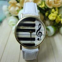 Groothandel-mode Genève Dames Mannen Analoog Quartz Piano Toetsenbord Muzieknoot Horloge Polshorloge Lady Jurk Ornament