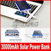Portable 30000 mAh Panneau de batterie solaire Chargeur externe Double 30000mah Ports de charge solaire 5 couleurs choisissent pour banque portable de téléphone portable