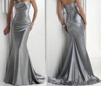 Anniversary naszego sklepu! W magazynie Hot Sexy Bez ramiączek Zroszony Silver Elastyczna Satin Mermaid Satin Druhna Prom Dresses poniżej 100 USD