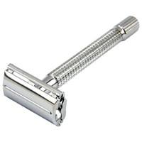 1 lâmina + 10 lâmina longa alça masculina de barbear barbear barbeadores barrancos barrancos bronze chapeamento clássico manual lâminas