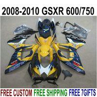 Juego completo de carenado ABS para SUZUKI GSXR750 GSXR600 2008-2010 Juego de carenado K8 K9 azul naranja GSXR 600/750 08 09 10 KS60
