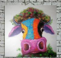 Hand Painted Decor Cow Art Painting on Canvas Animal Picture...