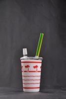 Sıcak Satış Turuncu Cam Bongs Domeless Balmumu Yağ Ağacı Starbuck Kupası Yağ Rig Cam Su Boruları ile 14 mm Eklem