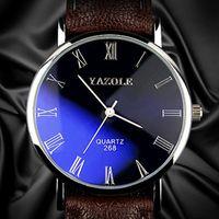 2015 мода роскошный синий рэй стекло римский номер кварцевые аналоговые мужские часы, кожаный ремешок relojes мужчины спортивные наручные часы кожа