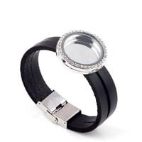 Fashion Jewelry Opened 30MM Black Genuine Leather Bracelet floating locket Bracelet DIY magnetic Glass Frames Floating Charm Lockets