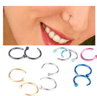 Stainless Steel Nose Hoop Rings earring larbret eyebrow stud...