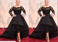 Kelly Osbourne 2015 Oscars Vestidos de noche Bateau de manga larga de encaje Hi-Lo Sweep Train Vestidos de baile Vestidos de famosos por encargo