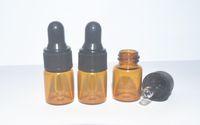 Оптовая серия 1000 шт. 2 мл Янтарного стекла капельницы бутылки ж / черный колпачок для хранения эфирного масла, небольшие флаконы духов, портативные маленькие бутылки