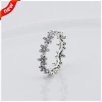 Compatible avec Pandora bijoux bague marguerite argent anneaux avec zircon cubique 100% 925 bijoux en argent sterling en gros bricolage