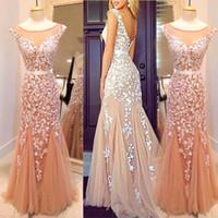Fotos reais 2015 Sexy Sheer Tulle Blush Longo Prom Pageant Vestidos Lindo Lace Appliqued Sereia Formal Vestidos de Festa À Noite EV0265