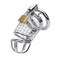 Chasteté masculine Cage De Bondage En Métal Chrome Fini Dispositif De Tube De Retenue Dispositif De Chasteté En Acier Inoxydable Verrouillage Sex toys