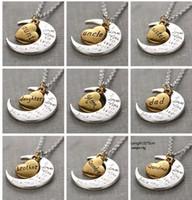 """Retro-Mode Antik Silber Gold """"Ich liebe dich zum Mond und zurück"""" Anhänger Halskette Geschenk für Liebhaber Mama Papa Tochter Sun Geschenk"""