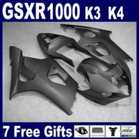 Tutto il kit di carenatura nera opaca per SUZUKI GSXR1000 2003 2004 Kit Body Brand New GSXR 1000 03 04 Parabrezza GRATUITO