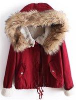 Atacado-Novo 2015 inverno grande gola de pele curto jaqueta de inverno mulheres casaco casaco quente bonito para baixo forrado de lã Parka HW99JB9A